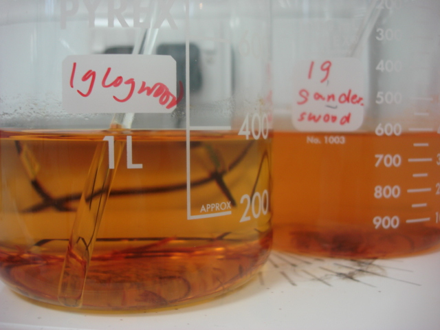 Dyewood extracts for dyeing