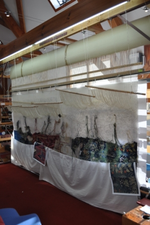 Tapestry on the loom at Stirling Castle Tapestry Studio