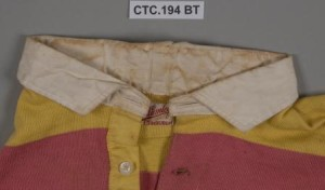 Detail of the collar before treatment, showing the yellow discolouration of sweat copyright © University of Glasgow