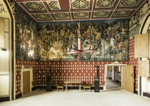 Completed Unicorn tapestries hanging in the Queen's Inner Hall at Stirling Castle. © Historic Scotland.