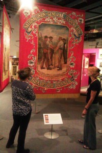 Vivian Lochhead, Senior Conservator and Karen Thompson discussing the project at the People's History Museum ©University of Glasgow and courtesy of the People's History Museum