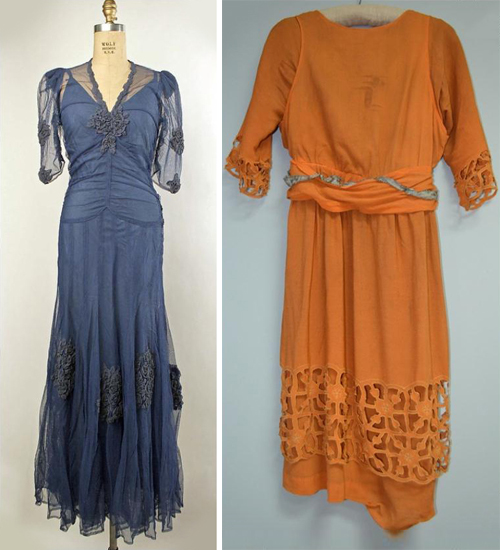 Early 20th century viscose rayon dresses. Credit:  Museum Textile blog