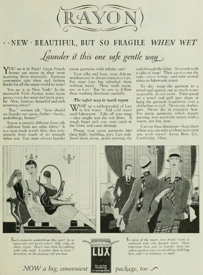 Lux soap advert from 1926. From Photoplay Vol. 30, July 1926. Chicago: Photoplay Magazine Publishing Company.