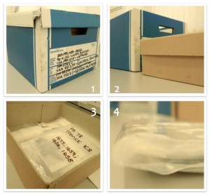 Fragments are stored within original find bags, stacked within these boxes. All images ©Shetland Museum and Archives.