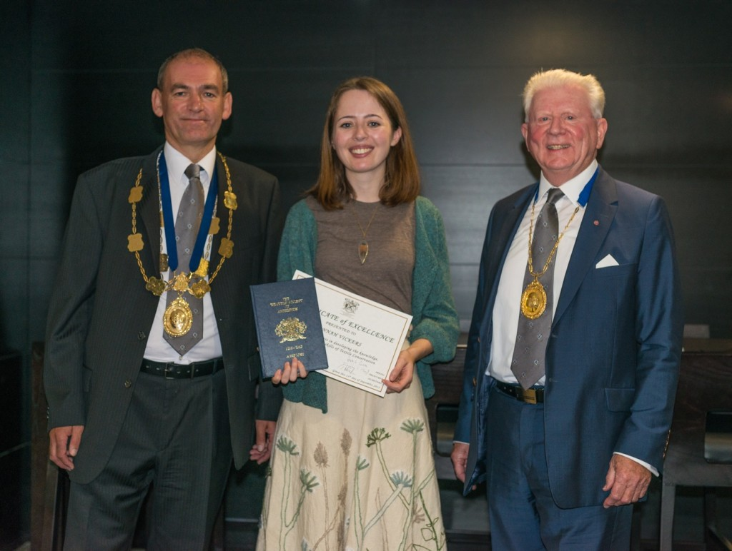 Preses Hugh G. Campbell and Treasurer Douglas T. Boyd awarding the Certificate of Excellence to Hannah Vickers. © Sayed Hasan.