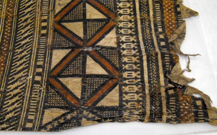 Barkcloth (tapa), patterned (115cm x 71cm), Fiji, Melanesia