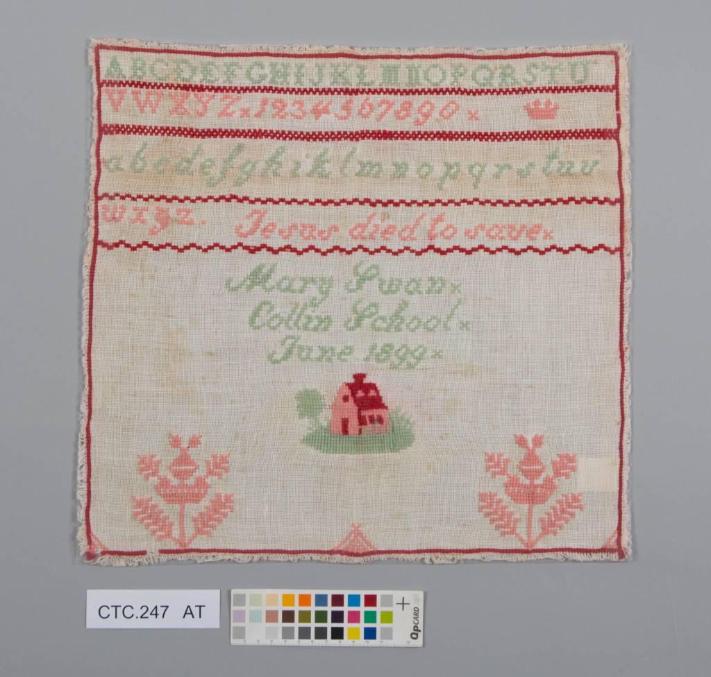 The sampler after treatment © University of Glasgow and Dumfries Museum.