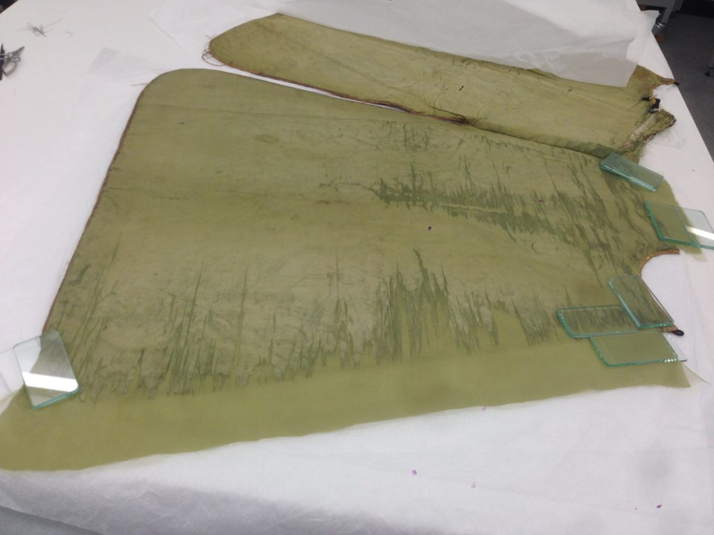 The conservation of the lining in progress © CSG CIC Glasgow Museums Collection and University of Glasgow, 2016.