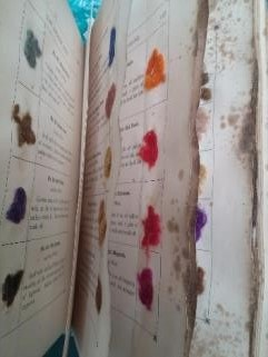 Dyed patterns in a 19th century dyeing manual - at risk of fading under 'ideal' museum lighting? ©Anita Quye, University of Glasgow, 2016.
