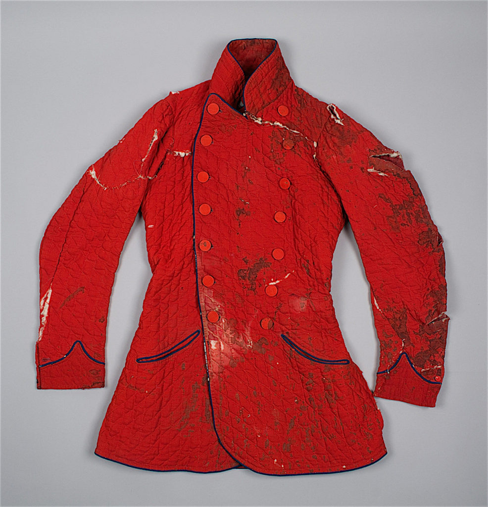 The front of the Mackenzie jacket, before conservation © University of Glasgow and Dumfries Museum, 2016
