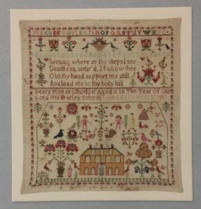 This 1816 English sampler stitched by then 11 year-old Mary Ann Brotherton is overflowing with charming cross-stitched birds, flowers, and animals