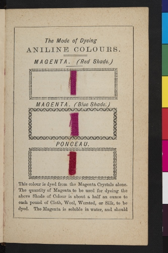 A page of magenta dyed 'patterns' in David Smith 'The Dyers Instructer', 1876, p365. UoG Special Archive and Collection GB 0247 Sp Coll RB 5094 p365