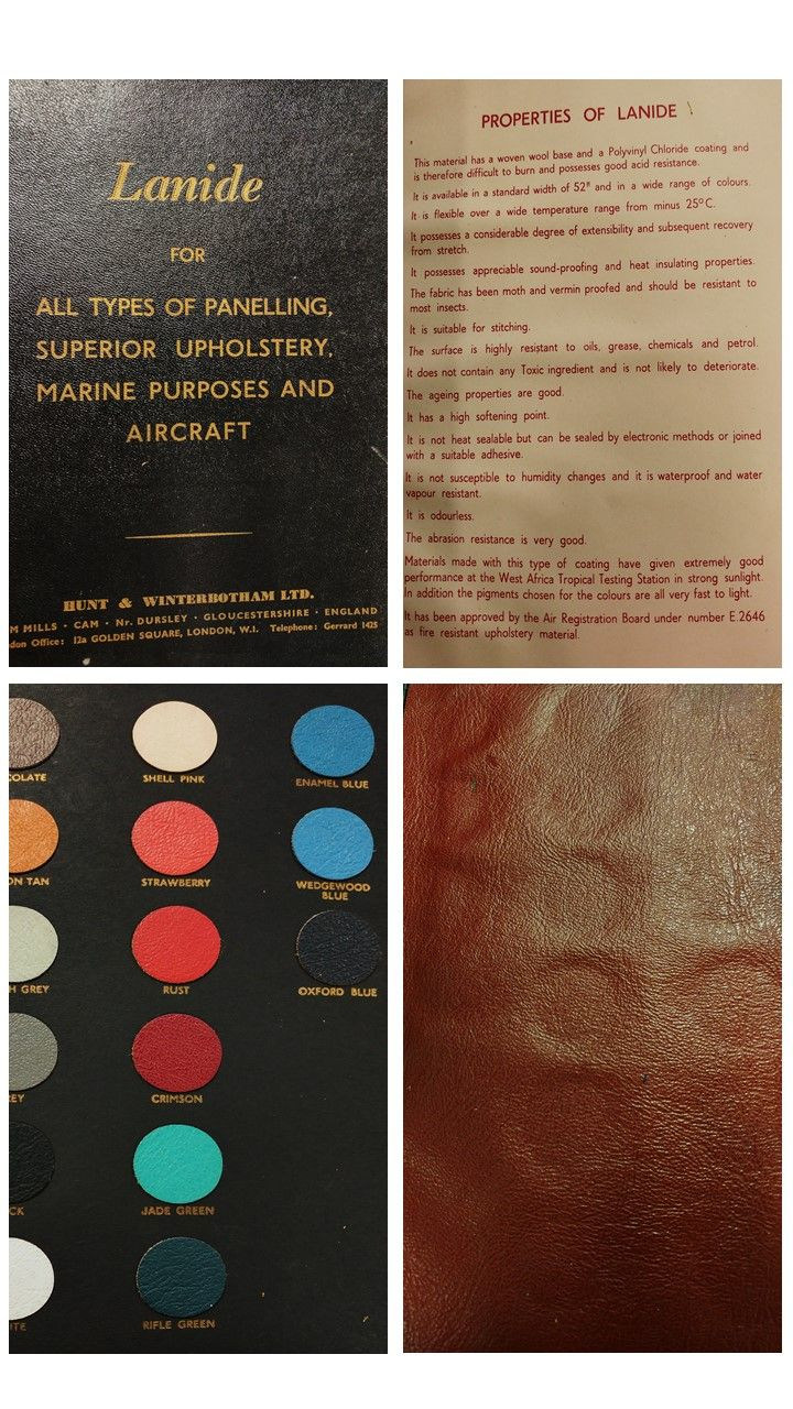 Sample book of 'Lanide' PVC-coated leather explaining its properties and composition. Samples pressed into the cover backing when closed have%2