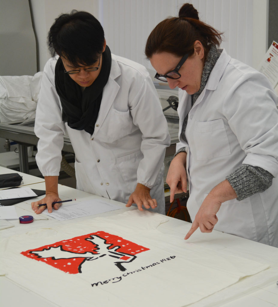 The work programme was based on the outcome of a group survey activity. Here Chuance Chen and Caterina Celada Prior are looking at DC 089/3/2/10 © University of Glasgow, 2018.