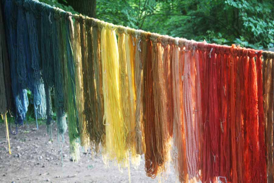 Kentwell naturally dyed yarn rainbow- Image courtesy of Sophie Rosemary Collins